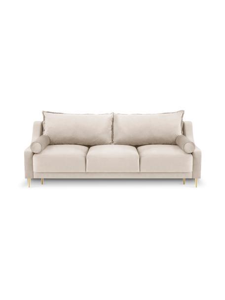 Sofa z aksamitu z funkcją spania i miejscem do przechowywania Lea (3-osobowa), Tapicerka: aksamit poliestrowy Dzięk, Nogi: metal malowany proszkowo, Beżowy, S 215 x G 94 cm