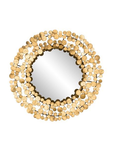 Okrągłe lustro ścienne z metalową ramą Penny, Odcienie złotego, Ø 64 x G 5 cm