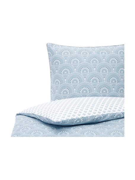 Dwustronna pościel z bawełny organicznej Poliana, Niebieski, biały, 135 x 200 cm + 1 poduszka 80 x 80 cm