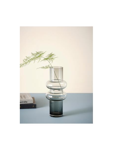 Glazen vaas Bulan in grijs, Glas, Grijs, Ø 13 x H 30 cm