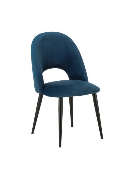 Silla de terciopelo Rachel, Tapizado: terciopelo (tapizado de p, Patas: metal con pintura en polv, Terciopelo azul oscuro, An 53 x F 57 cm
