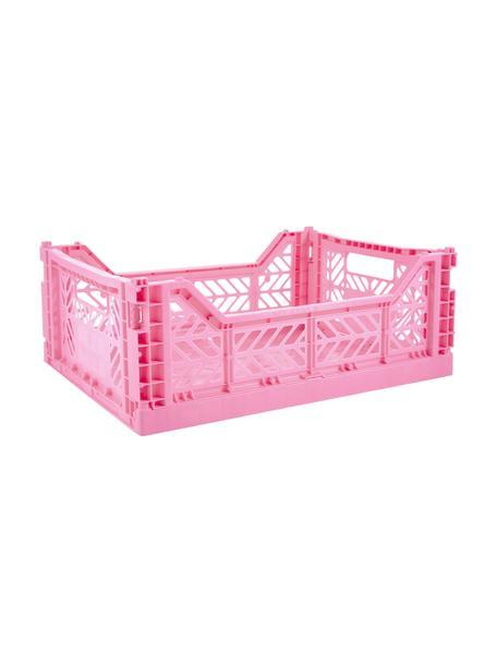 Caja plegable apilable Pink, mediana, Plástico reciclado, Rosa, An 40 x Al 14 cm