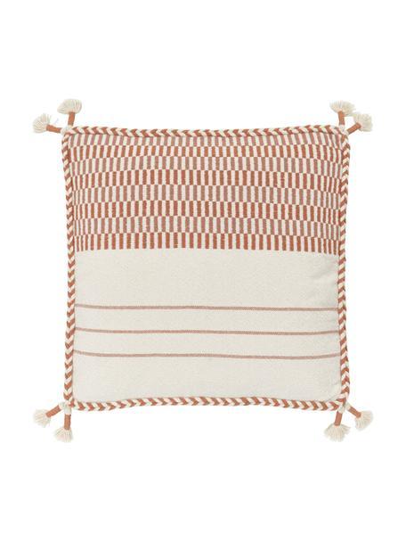 Funda de cojín de algodón con borlas Okiro, 100%algodón, Beige, naranja, An 45 x L 45 cm
