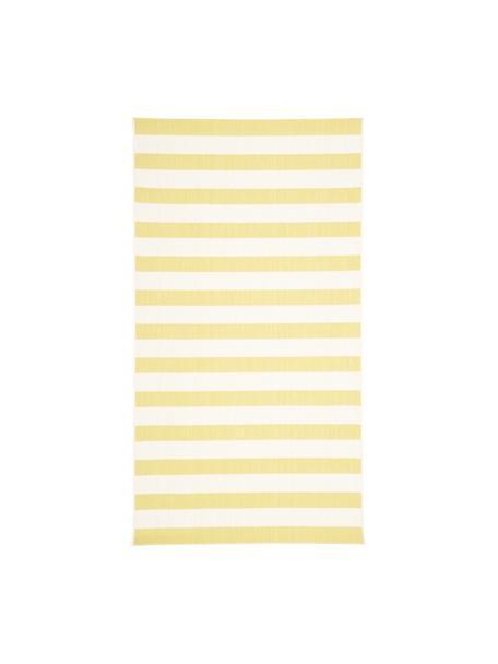 Gestreept in- & outdoor vloerkleed Axa in geel/wit, 86% polypropyleen, 14% polyester, Crèmewit, geel, B 80 x L 150 cm (maat XS)