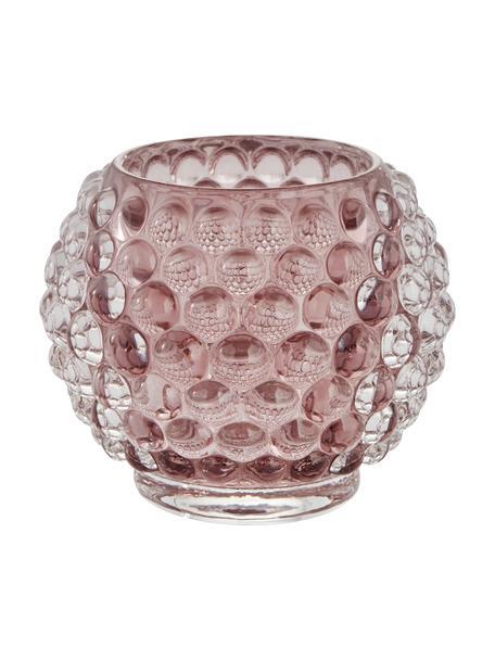 Handgemaakte waxinelichthouder Doria, Glas, Roze, transparant, Ø 9 cm