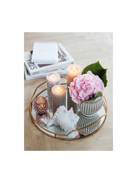 Handgefertigter Teelichthalter Doria, Glas, Rosa, transparent, Ø 9 cm