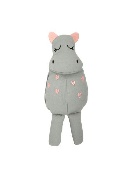 Przytulanka z bawełny organicznej Hippo, Szary, blady różowy, S 8 x W 25 cm