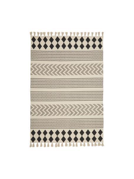 Handgeweven katoenen vloerkleed Edna in ethno stijl, 100% katoen, Crèmewit, zwart, B 60 x L 90 cm (maat XS)