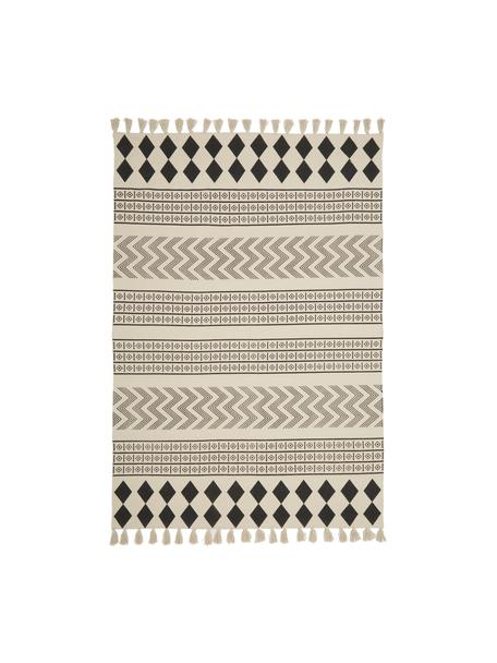 Tappeto etnico in cotone tessuto a mano Edna, 100% cotone, Bianco crema, nero, Larg. 60 x Lung. 90 cm (taglia XXS)