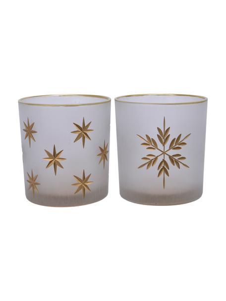 Teelichthalter-Set Stera, 2-tlg., Glas, Semi-Transparent, Goldfarben, Ø 7 x H 8 cm