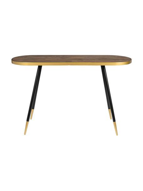 Sidetable Denise met ovaal tafelblad, Tafelblad: MDF met essenhoutfineer, Essenhoutkleurig, goudkleurig, B 121 x D 41 cm
