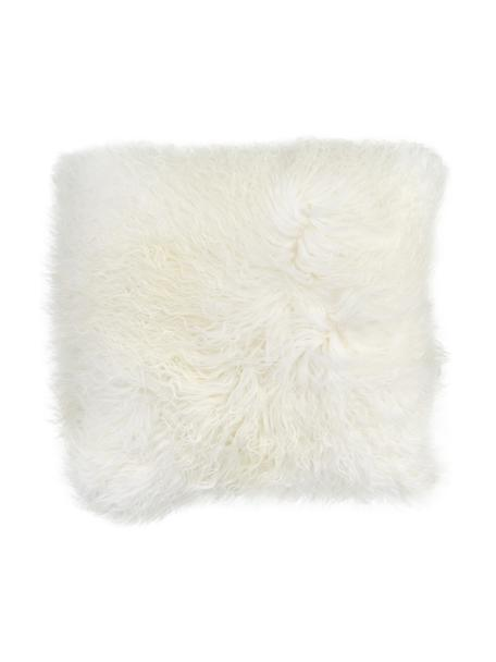 Langhaar-Lammfell Kissenhülle Ella in Naturweiß, gelockt, Vorderseite: 100% mongolisches Lammfel, Rückseite: 100% Polyester, Weiß, 40 x 40 cm