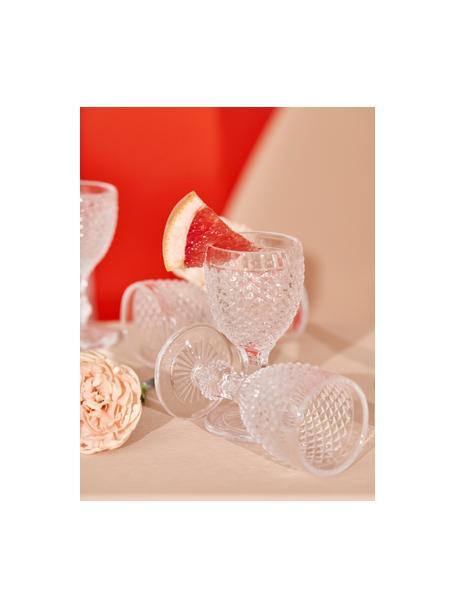 Copas licor con relive Diamond, 6uds., Vidrio, Transparente, Ø 5 x Al 10 cm