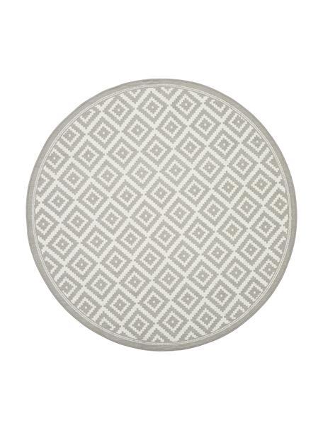 In- & outdoor vloerkleed met patroon Miami in grijs/wit, 86% polypropyleen, 14% polyester, Wit, grijs, Ø 140 cm (maat M)
