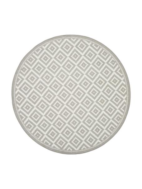 Rond in- en outdoor vloerkleed met patroon Miami in grijs/wit, 86% polypropyleen, 14% polyester, Wit, grijs, Ø 140 cm (maat M)