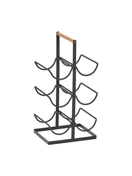 Botellero Hadena, para 6botellas, Estructura: metal con pintura en polv, Asa: madera, Negro, madera, An 24 x F 46 cm