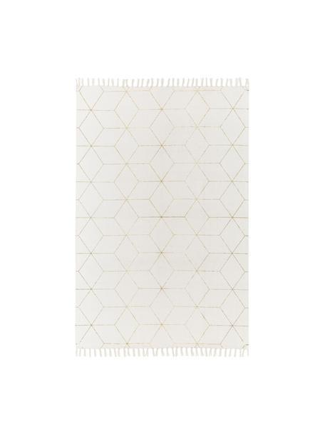 Vlak geweven katoenen vloerkleed Yena in beige/goudkleur, Beige, goudkleurig, B 50 x L 80 cm (maat XXS)