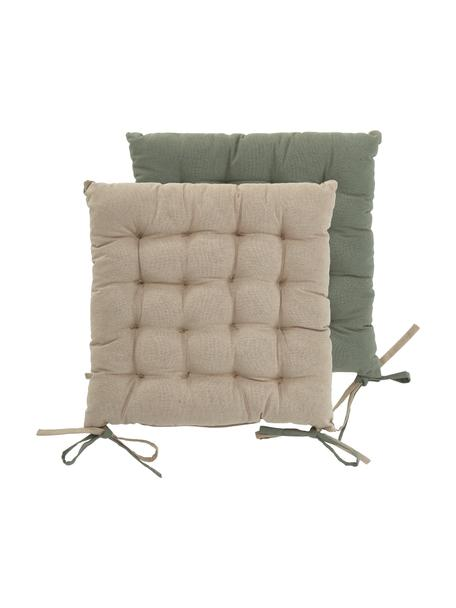 Dubbelzijdig stoelkussen Duo in kaki/beige, Kakikleurig, lichtbeige, 40 x 40 cm