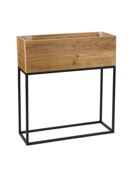 Übertopf Lobin aus Holz und Metall, Übertopf: Recyceltes Holz, Gestell: Metall, beschichtet, Braun, 55 x 61 cm