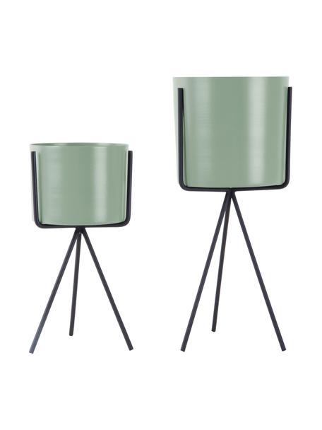 Set 2 portavasi in metallo Pedestal, Metallo rivestito, Verde menta, nero, Ø 13 x Alt. 30 cm