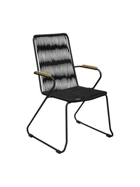 Sedia da giardino con braccioli Bois 2 pz, Seduta: corda rivestita, Struttura: metallo laccato, Nero, marrone, Larg. 60 x Prof. 63 cm