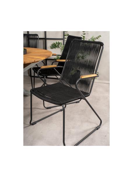 Sedia da giardino con braccioli Bois, Seduta: corda rivestita, Struttura: metallo verniciato, Nero, marrone, Larg. 60 x Prof. 63 cm