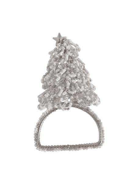 Serviettenringe Perlia mit Tannenbaum, 6 Stück, Glas, Kunststoff, Silberfarben, Ø 4 x H 5 cm