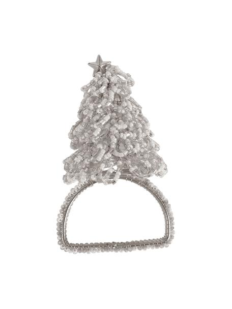 Servilleteros navideños Perlia, 6uds., Vidrio, plástico, Plateado, Ø 4 x Al 5 cm