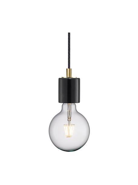Lámpara de techo pequeña de mármo Siv, Estructura: mármol, Anclaje: plástico, Cable: cubierto en tela, Negro, Ø 6 x Al 10 cm