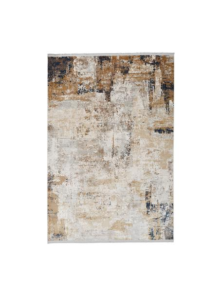 Teppich Verona mit abstraktem Muster, Flor: 50% Viskose, 50% Acryl, Creme, Beige, Grau, Braun, Dunkelblau, B 200 x L 290 cm (Größe L)