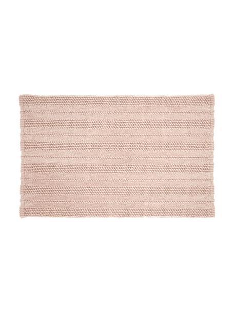 Tappeto bagno morbido con motivo a rilievo Nea, 65% poliestere, 35% cotone, Rosa, Larg. 50 x Lung. 80 cm