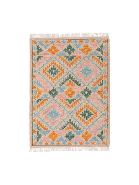 Ręcznie tkany dywan kilim z frędzlami Zohra, 90% wełna, 10% bawełna Włókna dywanów wełnianych mogą nieznacznie rozluźniać się w pierwszych tygodniach użytkowania, co ustępuje po pewnym czasie, Beżowy, wielobarwny, S 70 x D 140 cm (Rozmiar XS)