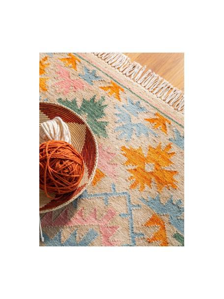 Alfombra kilim artesanal con flecos Zohra, 90%algodón, 10%poliéster Las alfombras de lana se pueden aflojar durante las primeras semanas de uso, la pelusa se reduce con el uso diario, Beige, multicolor, An 70 x L 140 cm (Tamaño XS)