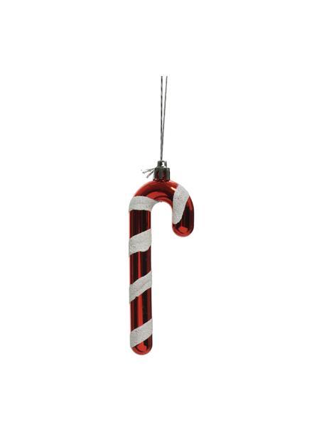 Adornos navideños irrompibles Sugarcandy, 2uds., Adornos: plástico, Rojo, blanco, An 4 x Al 12 cm