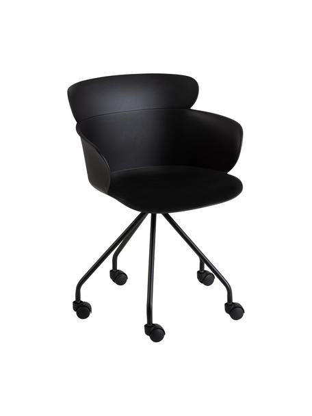 Sedia da ufficio in plastica con ruote Eva, Materiale sintetico (PP), Nero, Larg. 61 x Alt. 58 cm