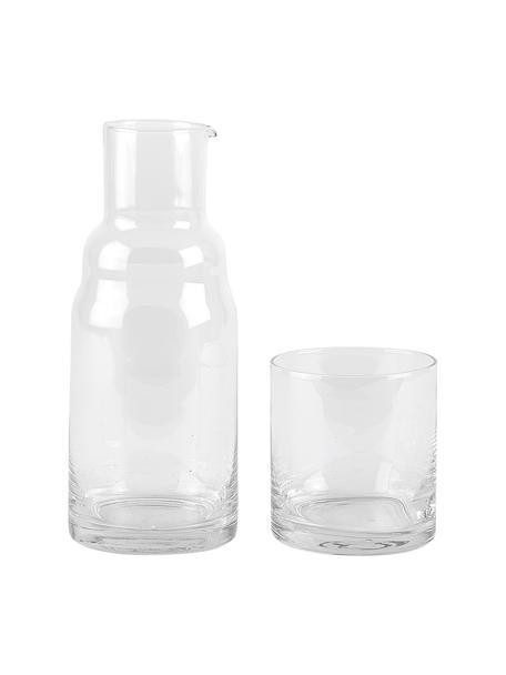 Set caraffa e bicchiere Wadi 2 pz, 800 ml, Vetro, Trasparente, Alt. 21 cm