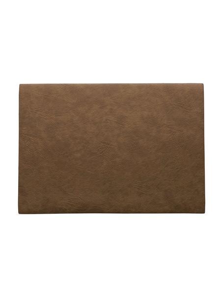 Manteles individuales de cuero sintético Plini, 2uds., Cuero sintético vegano, poliuretano, Marrón, An 33 x L 46 cm