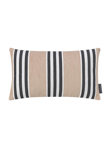 Gestreifte Kissenhülle Palermo in Beige, Webart: Jacquard, Sandfarben, Weiß, Schwarz, 30 x 50 cm