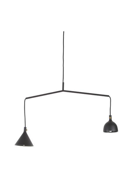 Hanglamp Cast van metaal, Lampenkap: gecoat aluminium, messing, Baldakijn: gepoedercoat metaal, Zwart, 66 x 32 cm