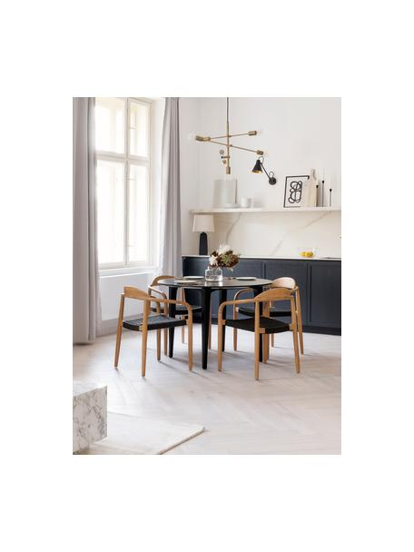Tavolo rotondo in legno massello Archie, Legno massello di mango verniciato, Legno di mango, nero verniciato, Ø 110 x Alt. 75 cm