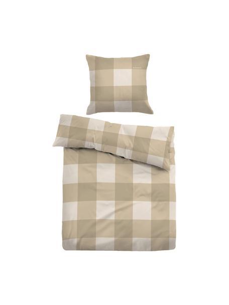 Karierte Flannel-Bettwäsche Cosy in Beige/Weiß, Webart: Flanell Flanell ist ein k, Beige, Weiß, 135 x 200 cm + 1 Kissen 80 x 80 cm