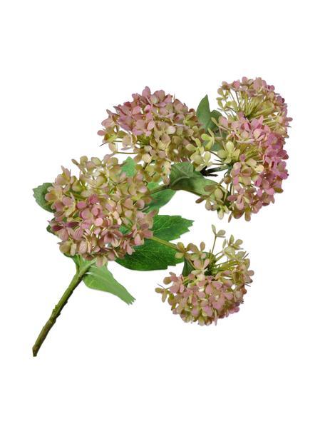 Kunstbloem Hortensia, roze/groen, Kunststof, metaaldraad, Roze, groen, L 53 cm