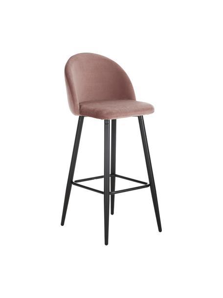 Taburete alto con respaldo de terciopelo Amy, Tapizado: terciopelo (poliéster) Al, Patas: metal con pintura en polv, Terciopelo rosa, An 45 x Al 103 cm