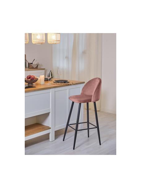 Krzesło barowe z aksamitu Amy, Tapicerka: aksamit (poliester) Dzięk, Nogi: metal malowany proszkowo, Aksamitny blady różowy, S 45 x W 103 cm