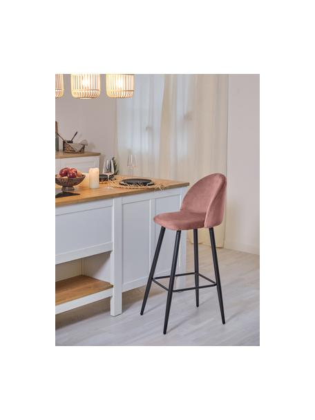 Sedia da bar rosa Amy in velluto, Rivestimento: velluto (poliestere) Il r, Gambe: metallo verniciato a polv, Rivestimento: rosa gambe: nero opaco, Larg. 45 x Alt. 103 cm