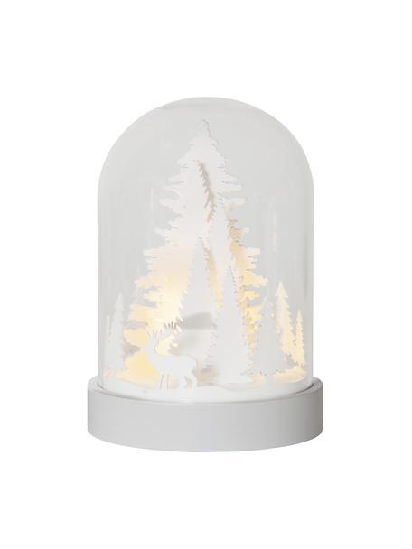 LED Leuchtobjekt Reindeer H 18 cm cm, batteriebetrieben, Mitteldichte Holzfaserplatte, Kunststoff, Glas, Weiß, Transparent, Ø 13 x H 18 cm