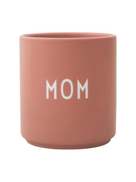 Taza de diseño Favourite MOM/LOVE, Porcelana fina de hueso (porcelana) Fine Bone China es una pasta de porcelana fosfática que se caracteriza por su brillo radiante y translúcido., Rosa, blanco, Ø 8 x Al 9 cm