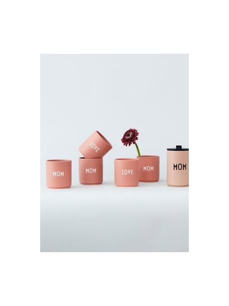 Taza día de la madre Favourite MOM/LOVE, Porcelana fina de hueso (porcelana) Fine Bone China es una pasta de porcelana fosfática que se caracteriza por su brillo radiante y translúcido., Rosa, blanco, Ø 8 x Al 9 cm