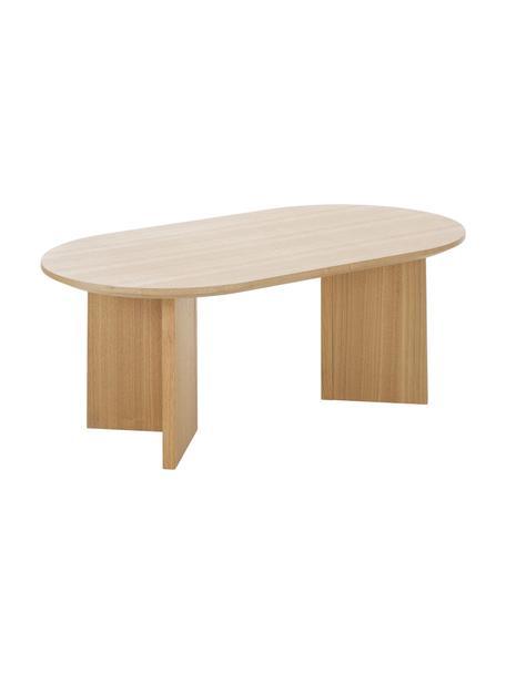 Ovale salontafel Toni van hout, MDF met gelakt essenhoutfineer, Bruin, 100 x 35 cm