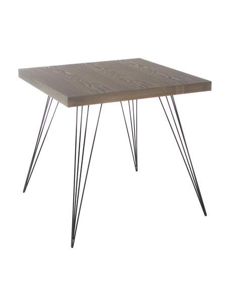 Kleine vierkante eettafel Wolcott met metalen poten, Tafelblad: MDF, Poten: gelakt ijzer, Donkerbruin, zwart, B 80 x D 80 cm
